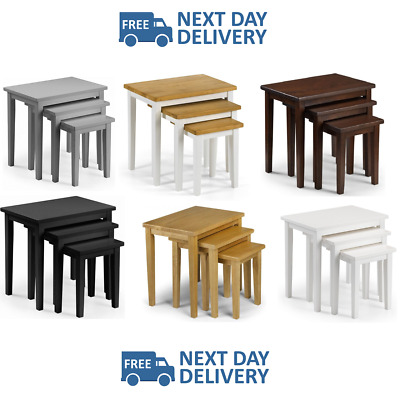 Julian Bowen Cleo Nest Of Tables Solid Living Room Furniture NEXT DAY DELIVERY • 55£