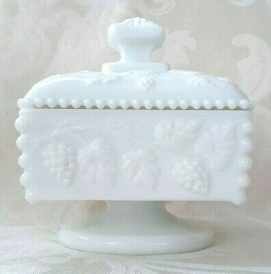 $21.99 • Buy Westmoreland Milk Glass Grapes Pattern Square Compote Candy Dish