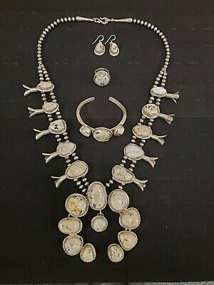 $ CDN1903.05 • Buy Navajo Sterling Silver Squash Blossom Necklace White Buffalo 4 Piece Set