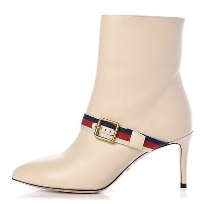 NEW $1250 GUCCI Women's Sylvie Web Strap White Leather Ankle Boots SZ 38 / 8 • 473.13£