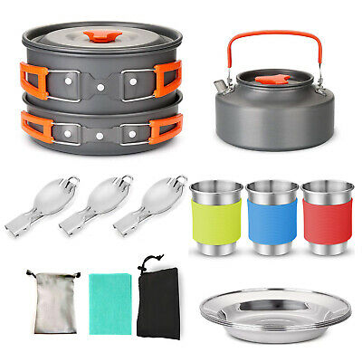 16PCS Portable Camping Cookware Kit Outdoor Picnic Hiking Cooking Equipment K4G8 • 27.03£