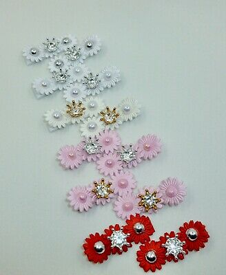 Satin Triple Flowers With Little Crown Clips (pair) • 3.50£
