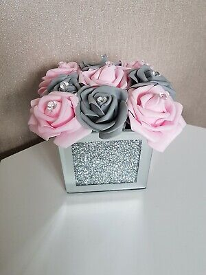 Artificial PINK AND GREY ROSE FLOWERS IN CRUSHED DIMOND MIRROR CUBE VASE 14x10cm • 18.99£