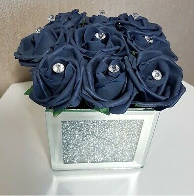 Artificial Blue Foam Flowers In Crushed Diamond Mirrored Cube Vase • 19.99£