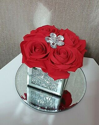 Artificial Red Flowers Arrangement In Crushed Diamond Mirrored Cube Vase • 19.99£