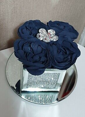 Artificial Blue Peony Flowers Arrangement In Crushed Diamond Mirrored Cube Vase • 19.99£