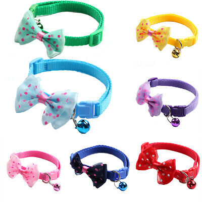 Adjustable Bowknot Dog Cat Pet Puppy Collar Bow Tie Elastic Neck Chain With Bell • 2.98£