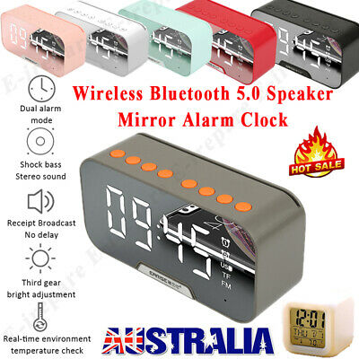 AU26.46 • Buy Poratable LED Mirror Digital Alarm Clock Wireless Bluetooth Speaker MP3 Radio FM