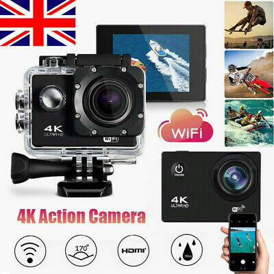 Waterproof Ultra 4K 1080P Action WiFi Camera DV Sports Camcorder Underwater Cam • 23.80£