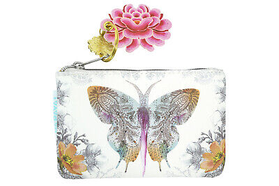 $12.75 • Buy Papaya Art Paisley Butterfly And Flower Art With Lotus Charm Keychain Coin Purse