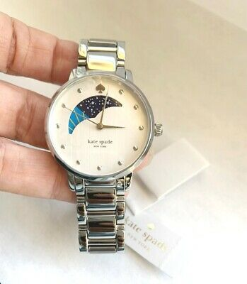 $ CDN145.36 • Buy New Kate Spade Gramercy Silver Tone Stainless Steel Moon Phase Watch Ksw1075