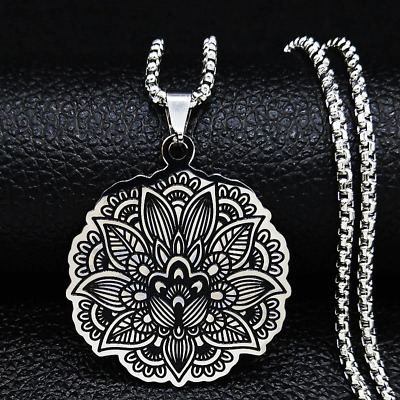 $ CDN12.06 • Buy STAINLESS STEEL Necklace Pendant Lotus Flower Of Life Symbols Charm Gifts