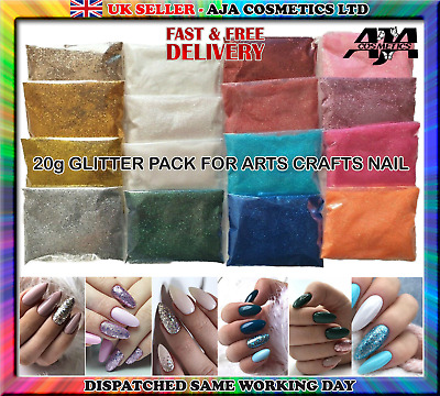 20g GLITTER PACK  FOR ARTS CRAFTS NAIL ART GLASS COVERING - 18 COLOURS • 2.99£