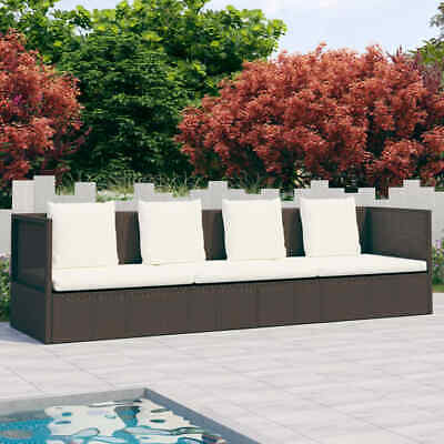 AU287.99 • Buy VidaXL Outdoor Lounge Bed With Cushion&Pillows Poly Rattan Brown Furniture Set