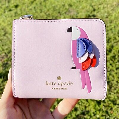 $ CDN57.87 • Buy Kate Spade Pink Flock Party Small L-Zip Bifold Wallet Parrot Pink Purple Leather