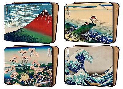 £11.99 • Buy Set Of 4 Placemats Cork Backed Hokusai Art Prints Great Wave And Others Japan