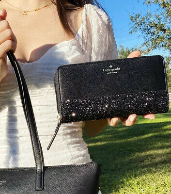 $ CDN161.61 • Buy Kate Spade Greta Court Large Continental Zip Around Wallet Black Glitter