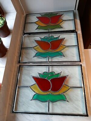 3× Set Of Double Glazed Leaded Stained Glass Windows. Good Condition. • 69.99£