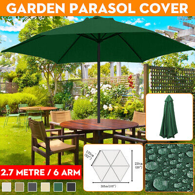 2.7m 6 Arm Replacement Fabric Garden Parasol Canopy Cover Waterproof U • 25.26£