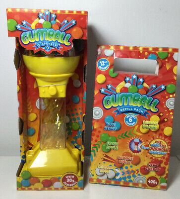 "Yellow 9"" Small Gumball Dispenser Machine & 12mm Size Sweets Refill Box Gift • 12£"