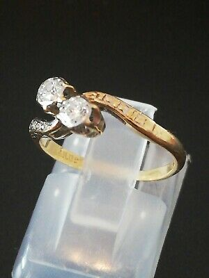 Vintage 18 Ct Gold Diamond 2 Stone Crossover Ring Size  H  .  0.25 Ct Total. • 160£