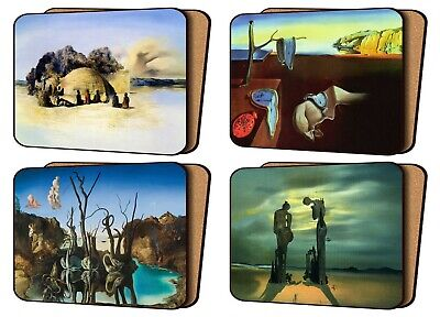 £11.99 • Buy Set Of 4 Placemats Cork Backed Dali Art Prints Elephant Swans And Others Surreal