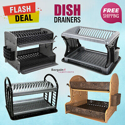 2 Tier Kitchen Double Drip Tray Dish Drainer Drying Rack Cutlery Bowl Cup Holder • 13.95£