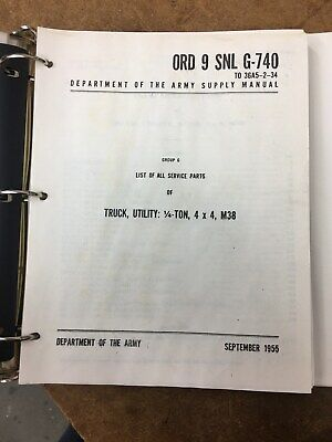 $19 • Buy M38 Willys Military Jeep Ord 9 Snl G-740 Reprint Of Parts Manual In Binder