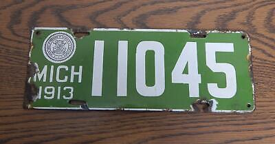$ CDN232.24 • Buy Antique 1913 Michigan State-Issued Passenger Porcelain License Plate