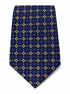 £25 • Buy Navy With Yellow, Royal Blue & White Spots Woven Silk Tie