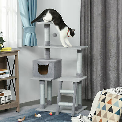 Multi-Level Cat Tree Activity Center W/ Scratching Posts Ladder Dangling Ball • 42.99£