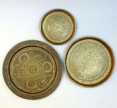 3 ~ Indian Brass Plates / Trays ~ Hand Chased / Engraved ~ Indo Persian • 49.99£