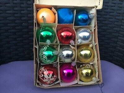 Vintage Christmas Baubles In Box • 12.99£