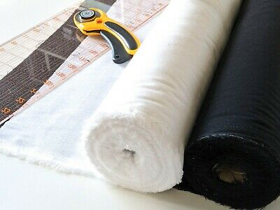 £2.75 • Buy Iron On Woven Fusible Interfacing By The Half Metre, Black Or White, 112 Cm Wide