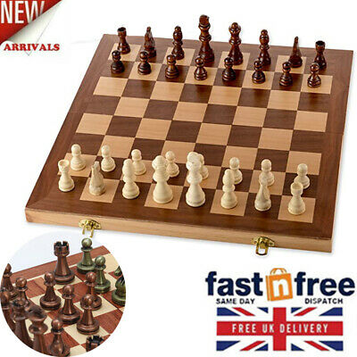 11'' Wooden Chess Set - With Metal Chess Pieces Chess Board &Game Storage Slots • 51.29£