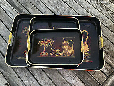 Vintage Japanese Lacquered Tray Set Of Three Nesting & Serrving Trays New • 30£