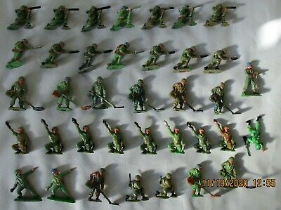 Vintage John Hill JoHillCo Hilco 37 Plastic Soldiers Various Pose Good Condition • 30£