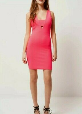 RIVER ISLAND Bright Coral Pink Bodycon Summer Dress RRP £30 BNWT Size 10 • 4.49£