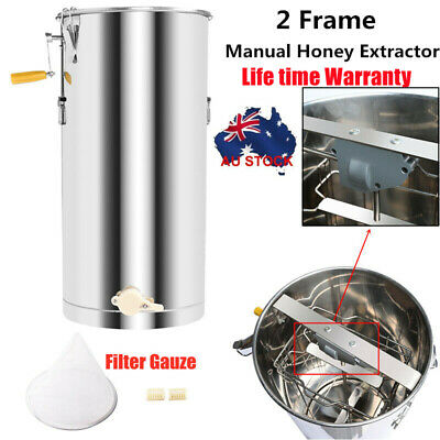 AU148.99 • Buy Stainless Steel Manual 2 Frames Bee Honey Extractor Centrifuge Beekeeping Tool