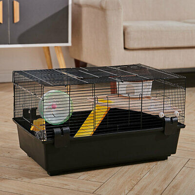 Hamster Cage Mice Mouse Dwarf Syrian Gerbil Cage With Ramp Wheel Water Bottle UK • 30.95£
