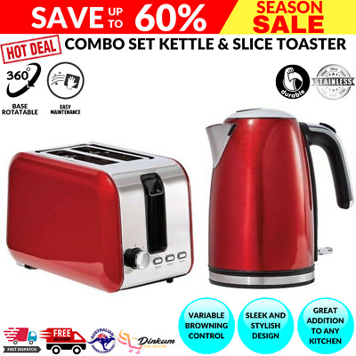 AU75.74 • Buy Combo RED Kettle 1.7L & Toaster 2 Slice Automatic Electric Set Stainless Steel
