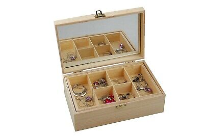 Jewellery Storage Box Mirror Necklace Wooden Ear Ring Drawer Make Up Chest  • 5.99£