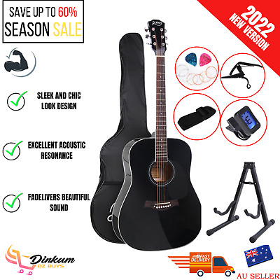 AU125.72 • Buy Acoustic Guitar Wooden 41 Inch Black With Accessories Set Accoustic Bag Stand