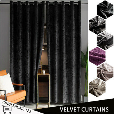 Luxury Crushed Velvet Curtains Pair Of Eyelet Ring Top Fully Lined Ready Made • 52.79£