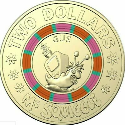AU5.99 • Buy 2019 MR SQUIGGLE 2 DOLLAR GUS Coloured Australian $2 Coin - Lightly Circulated