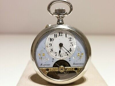 AU584.07 • Buy Antique Rare Beautiful Men's Pocket 8 Days Watch  Hebdomas /blue And White Dial