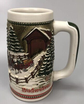 $ CDN33.84 • Buy VTG 1987 Anheuser Busch Inc. Budweiser Holiday Beer Stein Christmas AA No Flaws