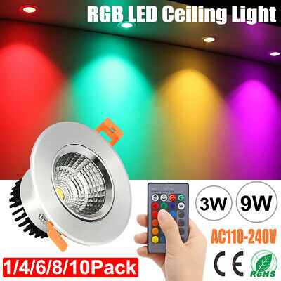 £10.59 • Buy RGB LED Ceiling Downlight 16 Colors Changing Spotlight Recessed Remote Control