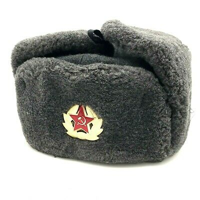 £13.42 • Buy Ushanka Hat Soviet Army Red Star Badge Military USSR Winter Soldier 58 Size NOS