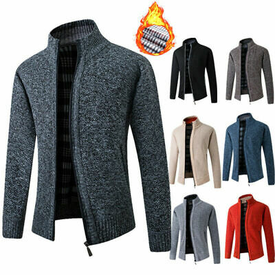 Mens Knitted Cardigan Thick Sweater Stand Collar Jumper Fleece Lined Winter Coat • 19.88£